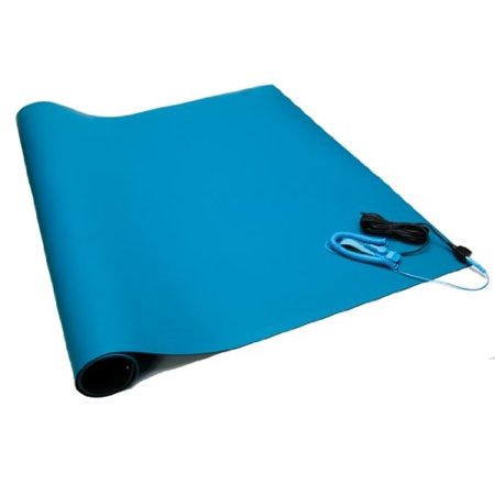 Rubber Mat Kit with Wrist Strap and Grounding Cord Blue 24x48x0.06 by Bertech