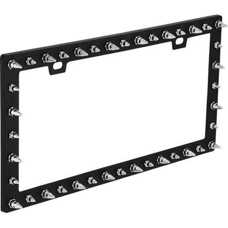 bell spike black chrome license plate frame