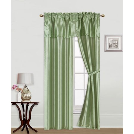 - Knight Sage 5-Piece Rod Pocket Faux Silk Light Softly Filtering Window Panel Set, 2 Panels, 1 Attached Valance and 2 Tie Backs 54