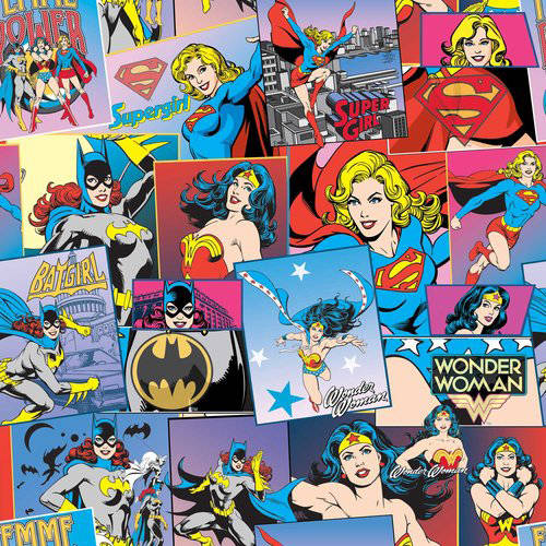 DC Comics Cotton Wonder Woman & DC Heroines Fabric, per Yard