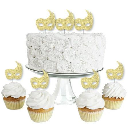 Masquerade Mask Cupcake Picks (Gold Glitter Masks - No-Mess Real Gold Glitter Dessert Cupcake Toppers - Mardi Gras Masquerade Party Clear Treat)
