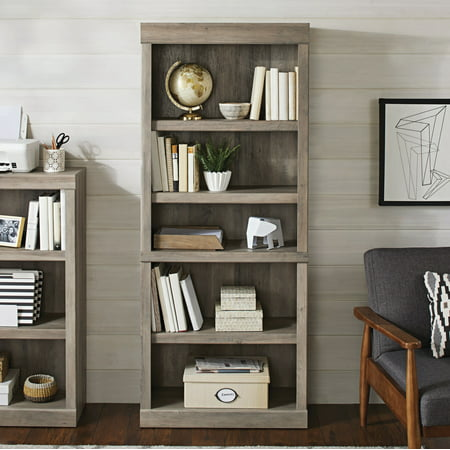 Better Homes & Gardens Glendale 5 Shelf Bookcase, Rustic Gray Finish