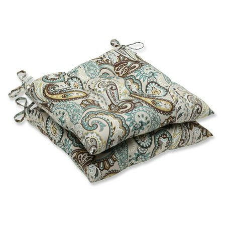 Pillow Perfect Outdoor/ Indoor Tamara Paisley Quartz Wrought Iron Seat Cushion (Set of 2) ()
