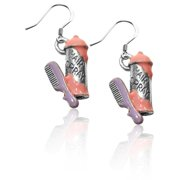Whimsical Gifts 3131S-ER Hair Spray & Comb Charm Earrings  Silver