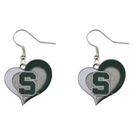 Michigan Wolverines Jewelry (NCAA Michigan State Swirl Heart Shape Dangle Logo Earring Set )