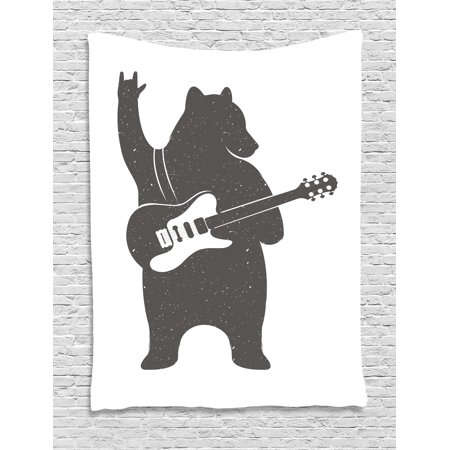 Bear Tapestry, Funny Character Musician with Guitar and Hand Gesture Grunge Effect Retro Rock n Roll, Wall Hanging for Bedroom Living Room Dorm Decor, 40W X 60L Inches, Black White, - Rock And Roll Room Decor