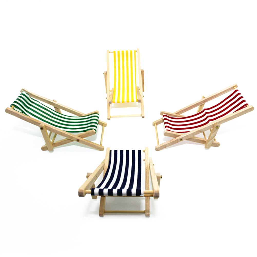 Girl12Queen Stripes Mini Lounge Sand Chair Scene Model Doll House Accessories Miniature Toys