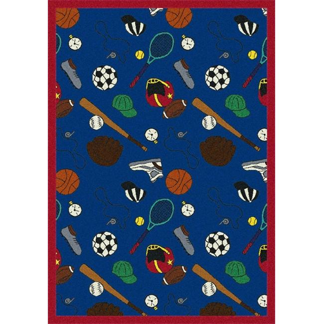 "Joy Carpets Games People Play - Gaming & Sports Area Rugs Multicolored-Sport, 5'4"" x 7'8"", Blue"