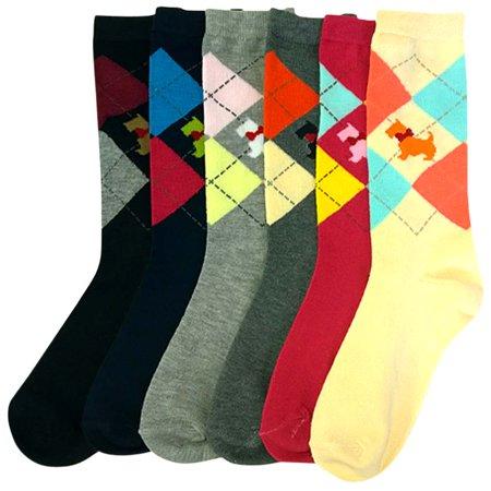 Scottish Terrier Argyle Print Womens 6 Pack Crew Socks