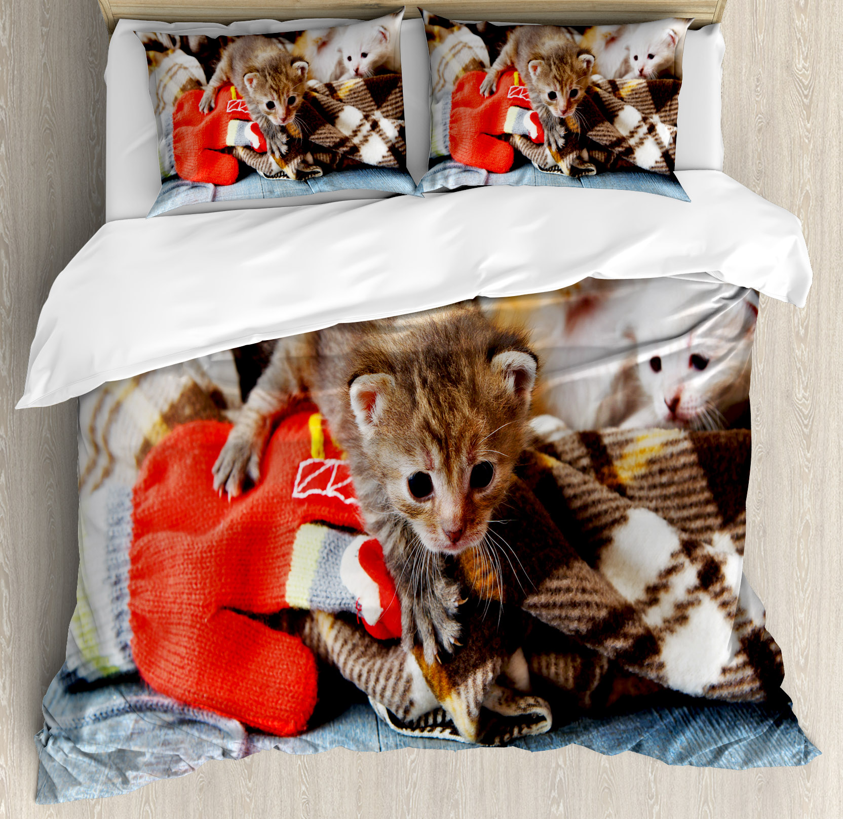 Cats Duvet Cover Set, Kittens and Mittens Newborns Baby Animals in an Plain Blanket Wood Play Toys Adorable,... by Kozmos