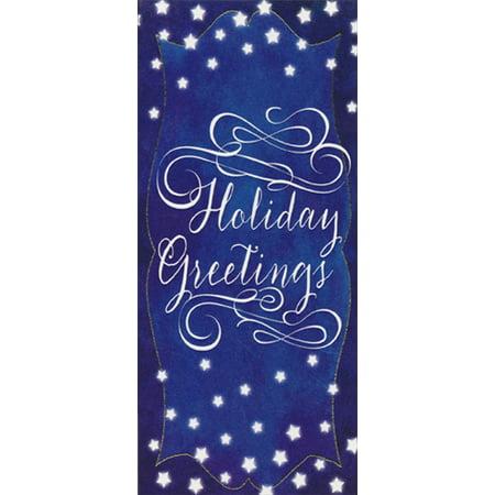 Designer Greetings White Script on Dark Blue 8 Christmas Money & Gift Card Holders