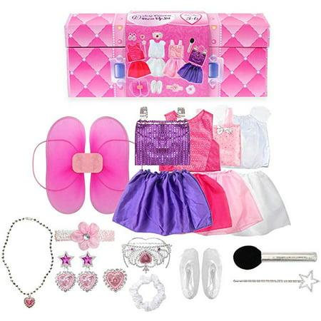 Halloween Pop Stars Costume Ideas (20PCS Girls Role Play Dress up Trunk Pretend Play Costume Set for Kids (Ballerina, Princess, Elf, Pop)