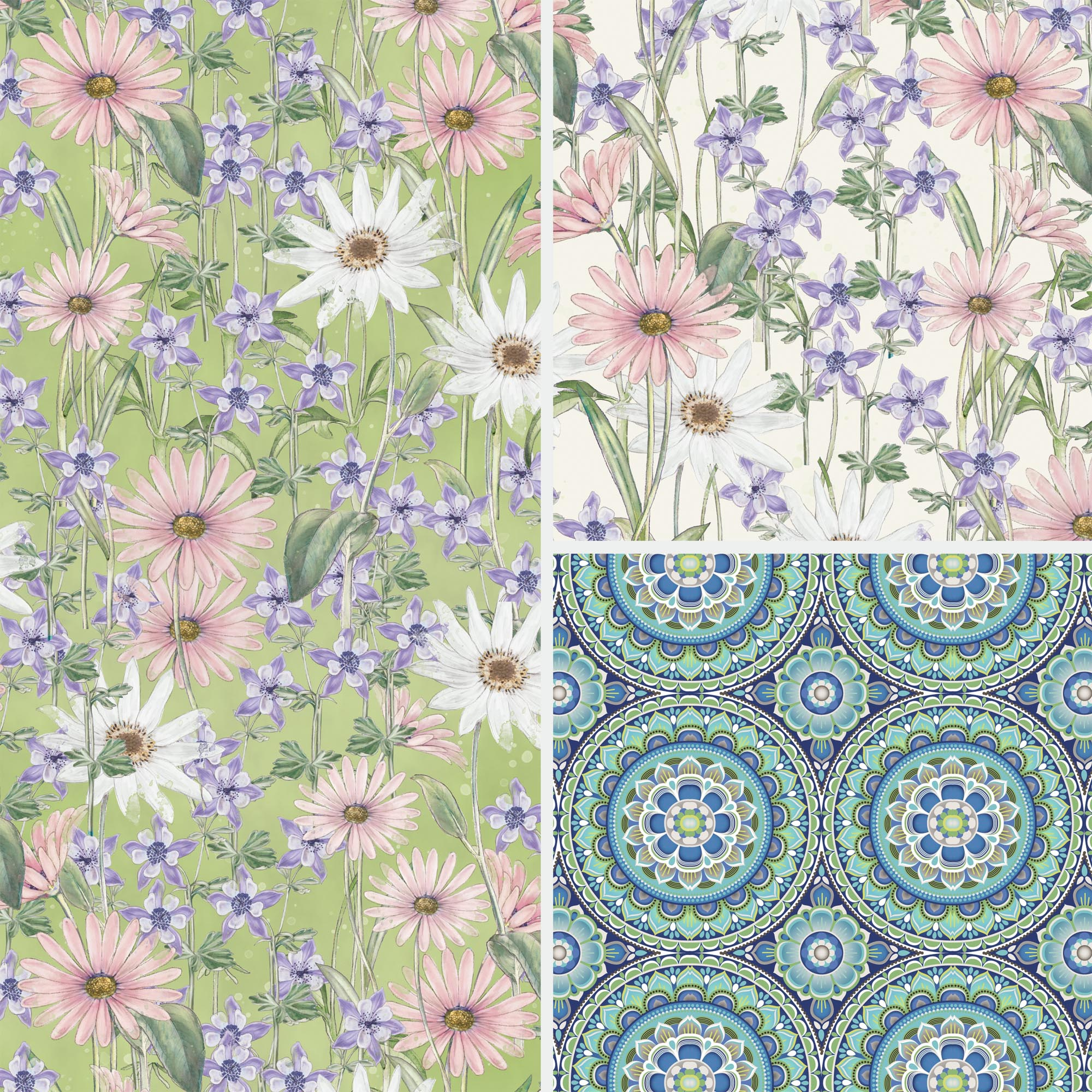 David Textiles Cotton Precut Fabric Wildflowers Collection 1 Yd X 44 Inches
