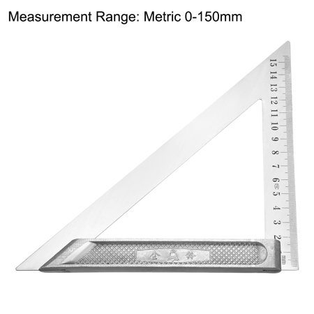 150mm Triangle Square Ruler Stainless Steel Right Angle Woodworking Tool - image 1 de 3