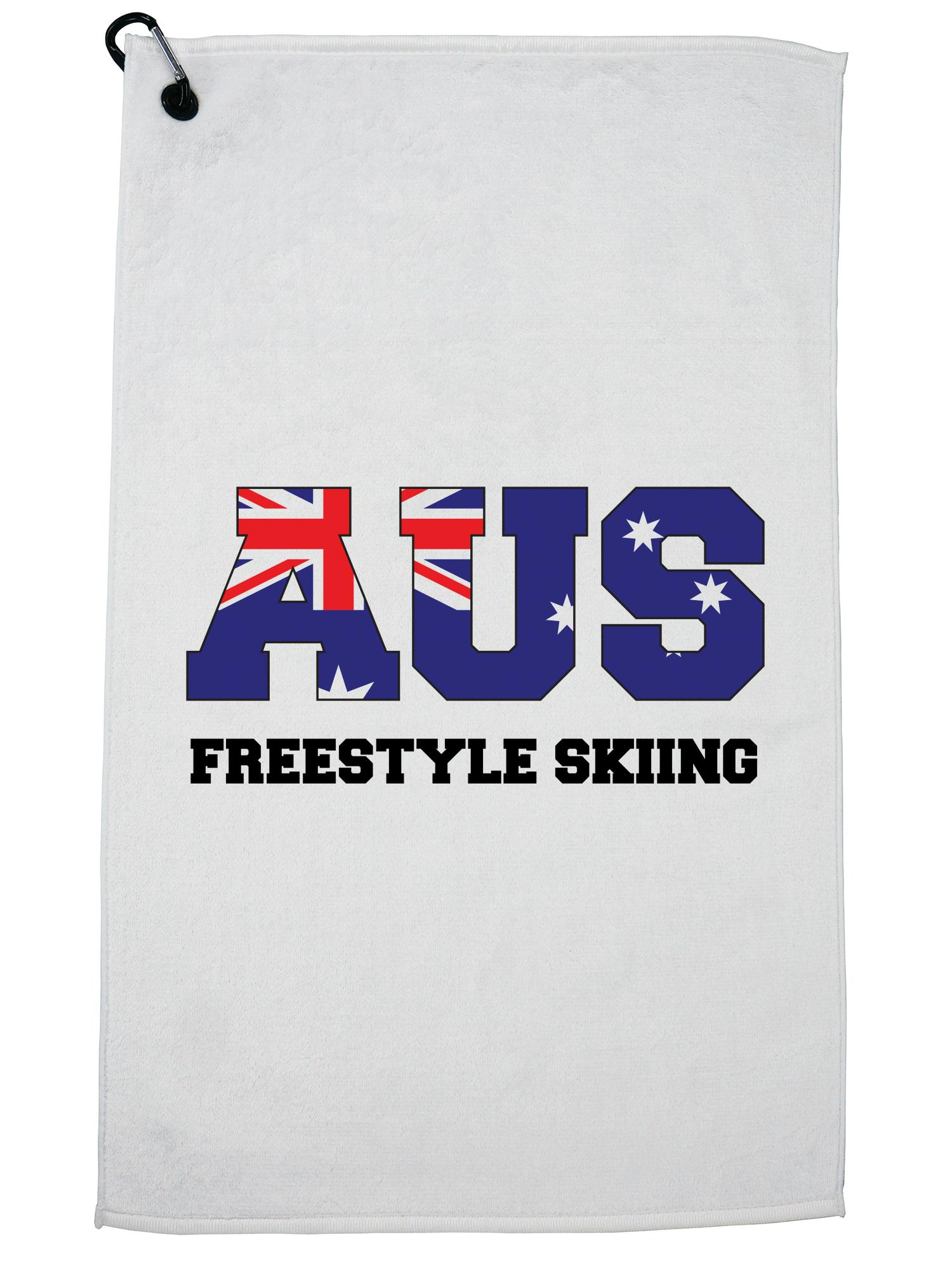 Australia Freestyle Skiing Winter Olympic Korea Flag Golf Towel with Carabiner Clip by Hollywood Thread