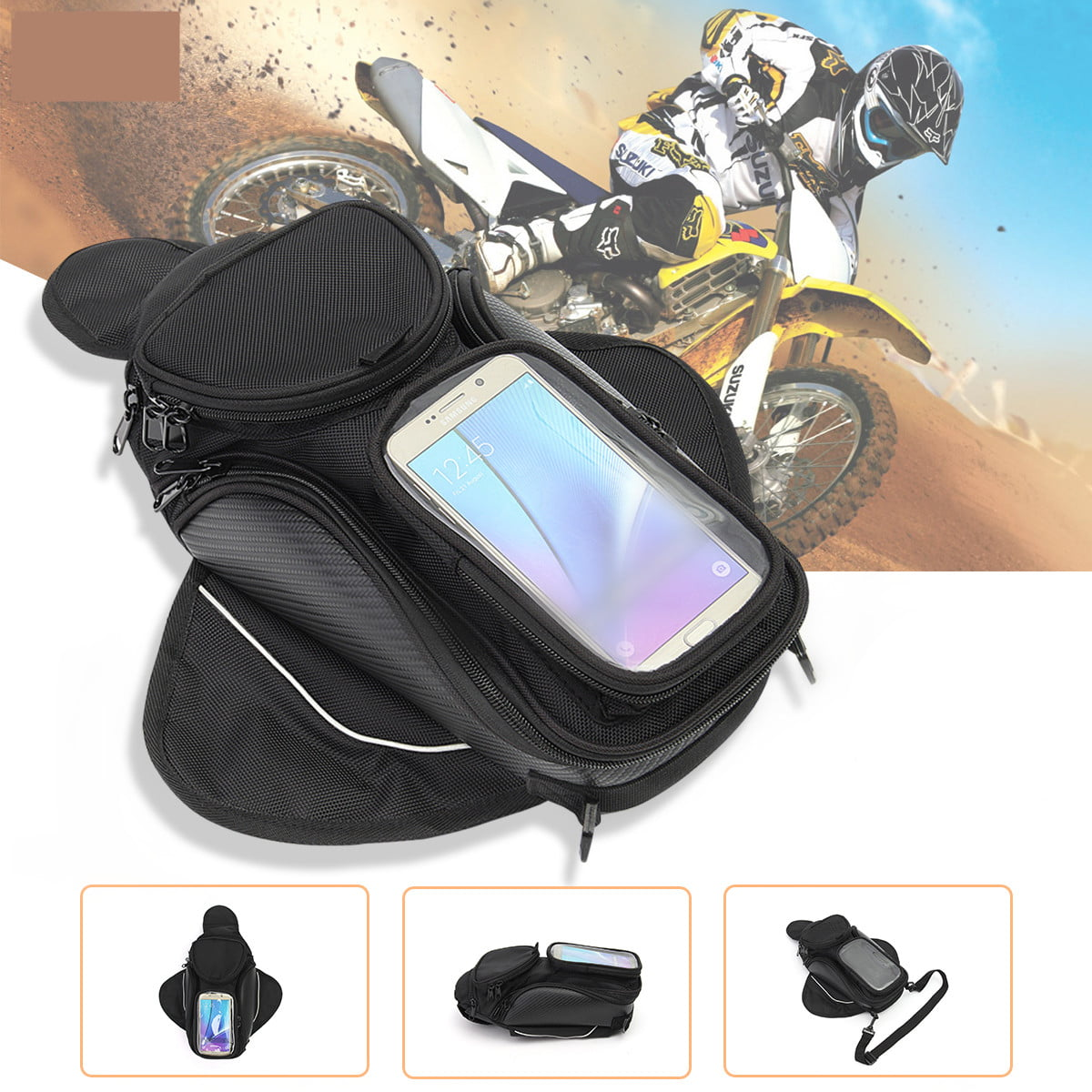 Waterproof Portable Black  Motorbike Bike Travel Fuel Tank Storage Bag Universal