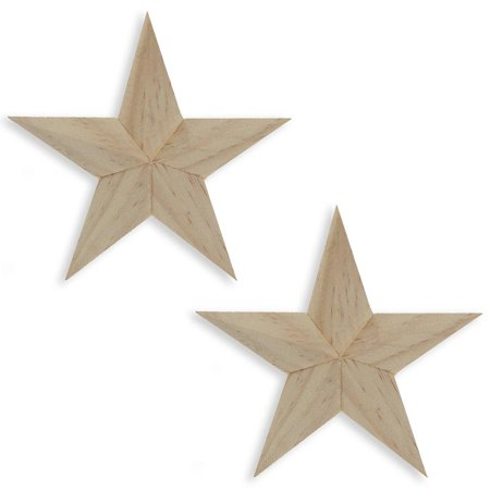 Set of 2 Blank Unfinished Wooden 3D Star Ornaments 4 Inches