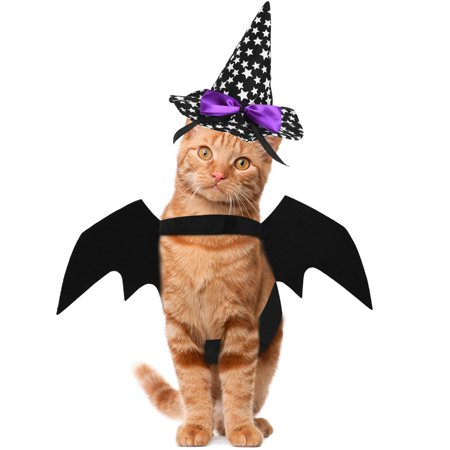 Cat Costume Halloween Pet Bat Wings Cool Cats Clothes with Wizard Hat, Self-adhesive Strap, Easy to Wear, Suitable for Cats within 10lb