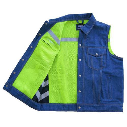 Missing Link Mens Lawless Reversible Denim Safety Vest ...