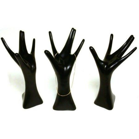 Hand Jewelry Display (3 Black Mannequin Hand Necklace Ring Jewelry Showcase)