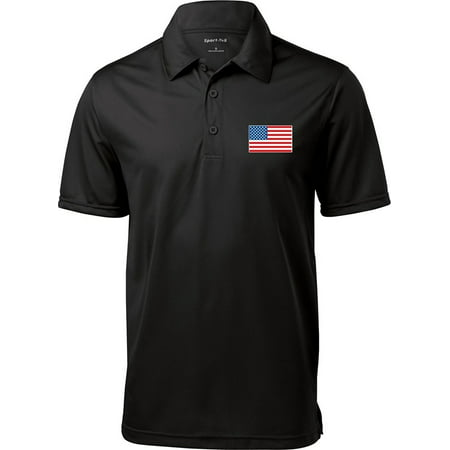 - Mens USA Patriotic American Flag (Pocket Print) Polo Shirt - XL Black