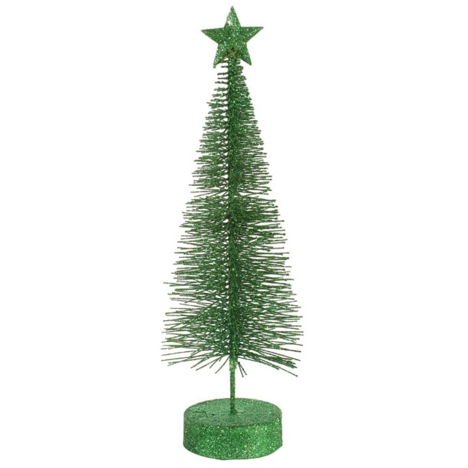 """Pack of 2 Xmas Green Glitter Sisal Artificial Table Top Christmas Trees 8"""""""