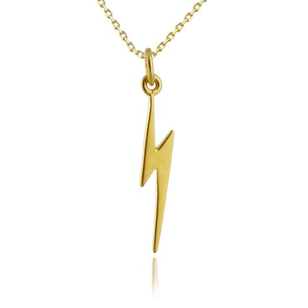 24k Gold Plated Sterling Silver Lightning Bolt Charm Pendant Necklace, 18