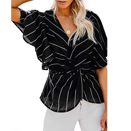 Strip Womens Fashion (Womens Fashion Strip Blouses Short Sleeve V Neck Twist Ruched Tops and T Shirts)