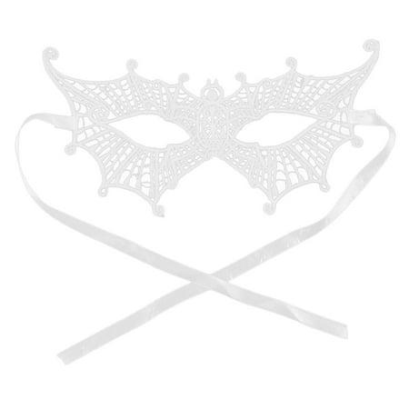 Women Spider Shaped Masquerade Party Dress Eyepatch Eyemask Lace Eye Mask White