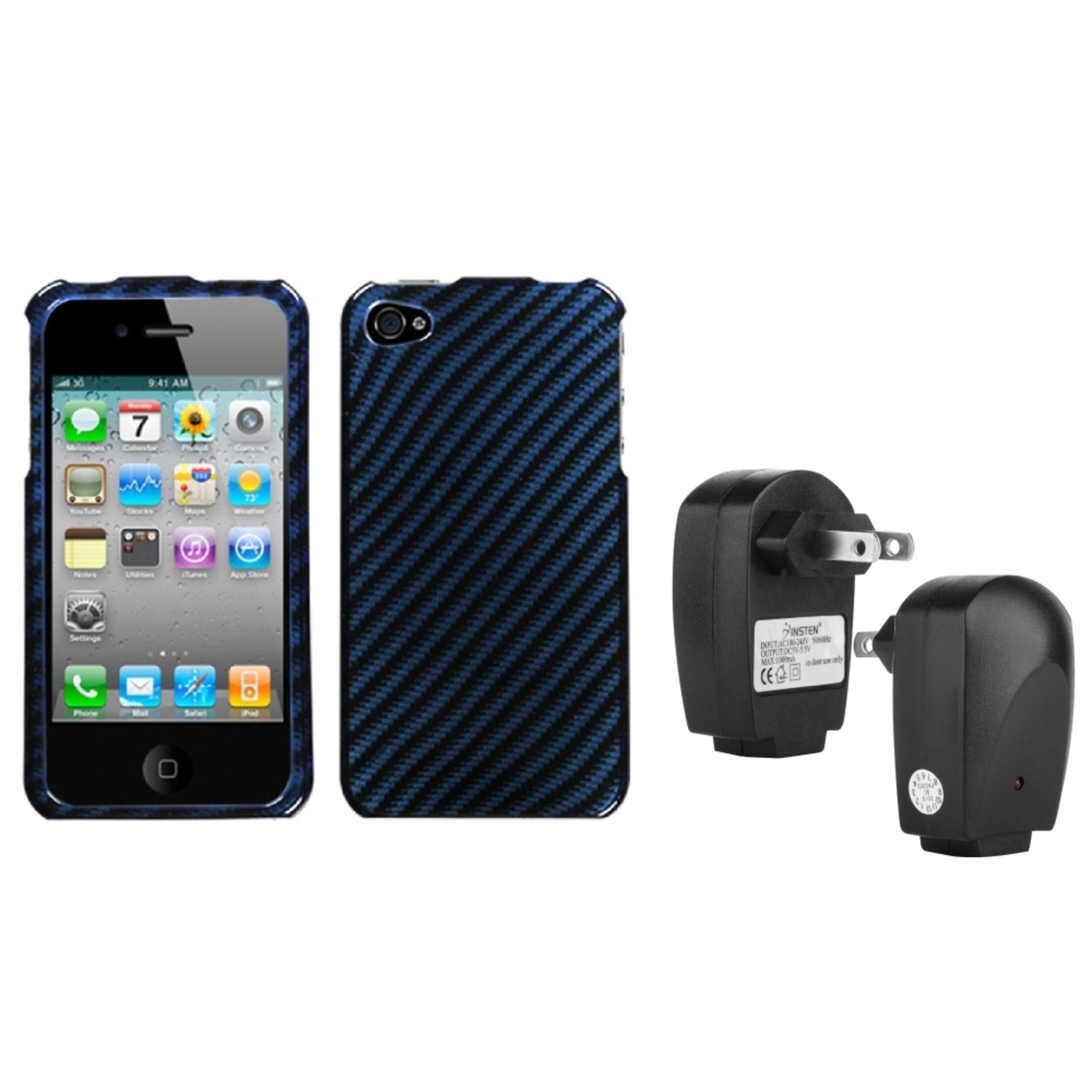 Insten Racing Fiber/Blue (2D Silver) Case For Apple iPhone 4 4S + USB Travel Charger