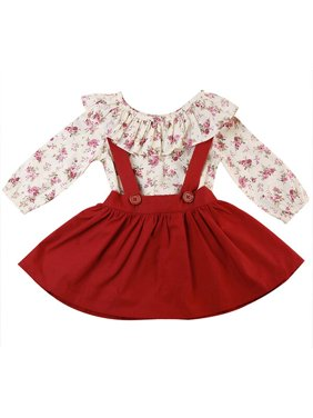 KidLuv Kids Baby Girls Ruffled Floral Tops Tee Bow Tutu Skirt Clothes 2Pcs Sets Outfits