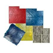 5 Ashlar Concrete Stamp Set. Slate Cement Texture Imprint Stamp Mats SM 3001