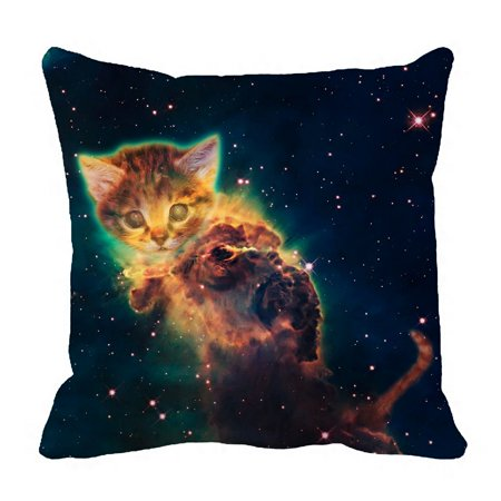 - ZKGK Galaxy Outer Space Hipster Cat Pillowcase Home Decor Pillow Cover Case Cushion Two Sides 18x18 Inches