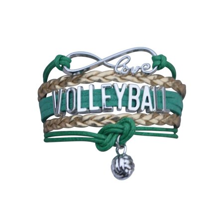 Volleyball Charm Bracelet (Volleyball Infinity Bracelet - Green)