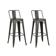 AC Pacific Distressed Metal Bar Stool with Back, Black, 30 -inch, Set of 2 by AC Pacific