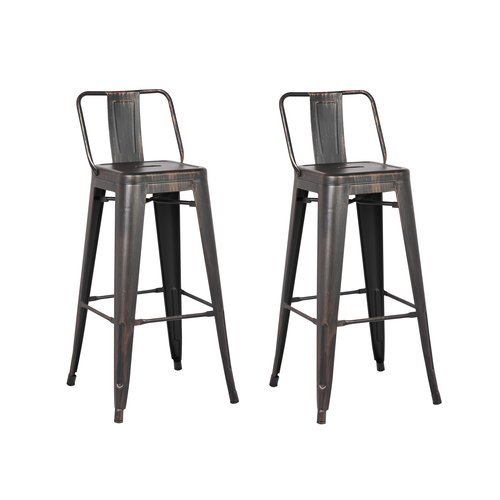 AC Pacific Distressed Metal Barstool with Back, Black, 30 -inch, Set of 2