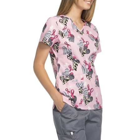 Scrubstar Women's Fashion Collection Let Your Heart Go Wild Breast Cancer Awareness Scrub - Disney Halloween Scrubs