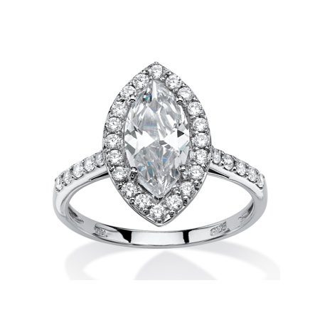 2.45 TCW Marquise-Cut Cubic Zirconia Halo Bridal Ring in 10k White - Cubic Zirconia 10k Gold Marquise