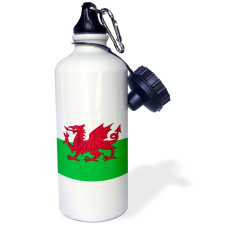 3Drose Flag Of Wales   Welsh Red Dragon On White And Green   Y Ddraig Goch Uk United Kingdom Great Britain  Sports Water Bottle  21Oz