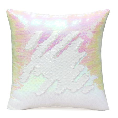 Tayyakoushi Sequin Pillow Case Reversible Classical Cushion Cover Change Color Couch Mermaid Throw Pillow Cover for Decoration 16x16 inches