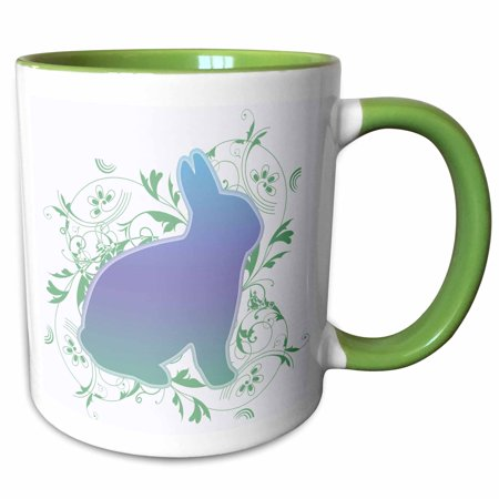 3dRose Rainbow Bunny with Floral swirls on a white background - Two Tone Green Mug, 11-ounce