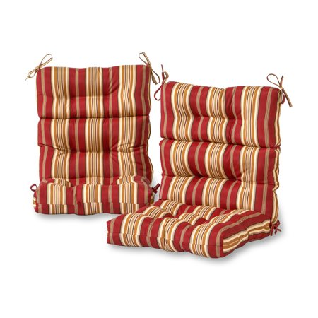 Greendale Home Fashions Roma Stripe Outdoor High Back Chair Cushion, Set of 2