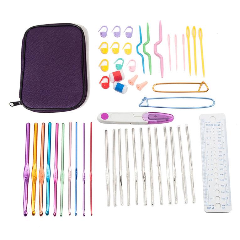 New Colorful Tpr Soft Handle Aluminum Crochet Hooks Knitting Needles Set