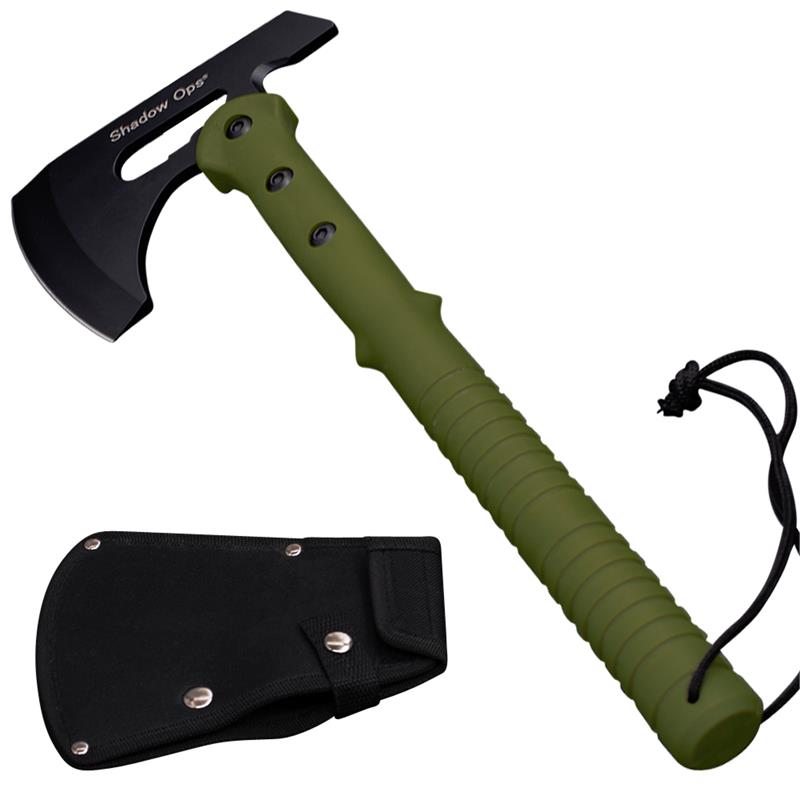 "16"" Shadow Ops® Tactical Axe with Green Handle and Includes Blade Case"
