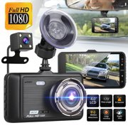 """TSV Dual Dash Cam Car Camera 1080P Front and Rear View Backup Camera 170° Wide Angle 4.0"" LCD, Night Vision WDR G-Sensor Parking Monitor Loop Recording Motion Detection """