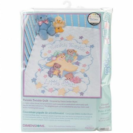 "Twinkle Twinkle Quilt Stamped Cross-Stitch Kit, 34"" x 43"""
