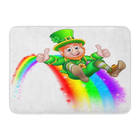 - GODPOK Green End Cute St Patricks Day Leprechaun Cartoon Character Sliding on Rainbow Giving Thumbs Up White Rug Doormat Bath Mat 23.6x15.7 inch