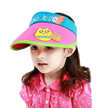 Kids Velcro Summer Sun Visor Hat with Animal stitching e773947f7a6