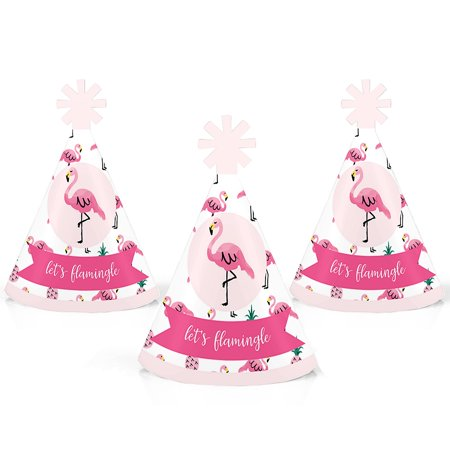 Pink Flamingo - Party Like a Pineapple - Mini Cone Tropical Summer Party Hats - Small Little Party Hats - Set of 10 - Cone Hats