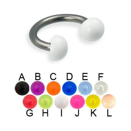 Acrylic Half Ball Titanium Circular Barbell, 12 Ga,3/8